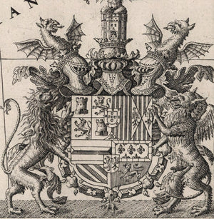 detail of coat of arms with helmets dragons lion and griffin rampant