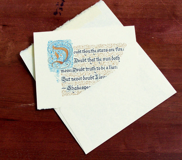 Shakespeare calligraphy Valentine card stationery envelope