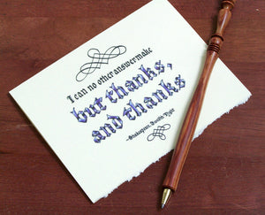 calligraphy thanks and thanks note card