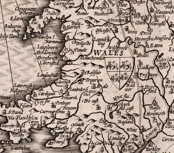 map detail Wales with coat of arms and place names