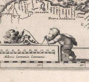 map detail scale inset with cherub figures