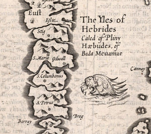 detail of Hebrides Isles with inscription and place names