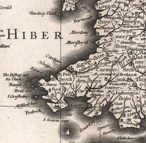detail of Welsh coastline with place names