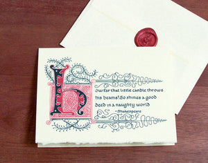 calligraphy note card and sealed envelope literary quote
