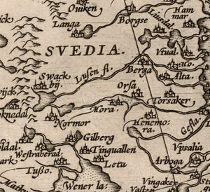 map detail 16th century Scandinavian place names
