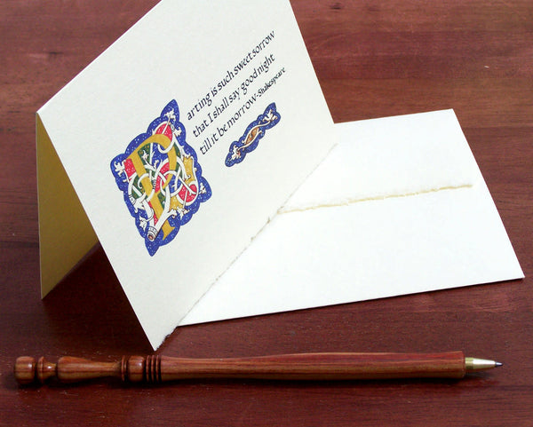 standing note card with envelope and pen Shakespeare calligraphy