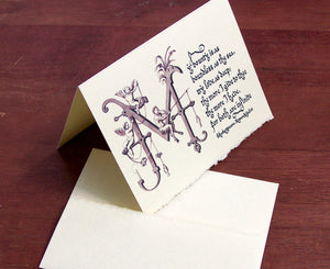 literary note card and envelope stationery