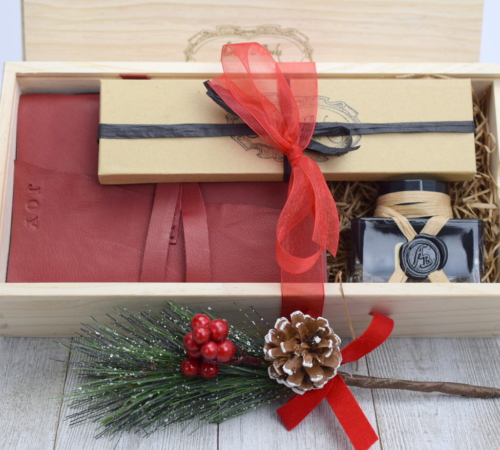 journal gift set in wood box