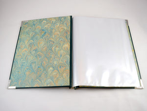art portfolio with page sleeves with marbled paper inside cover