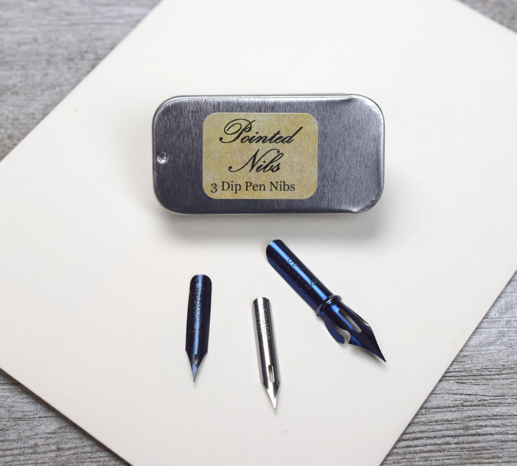Pointed Calligraphy Nibs, Set of 3, for Dip Pens