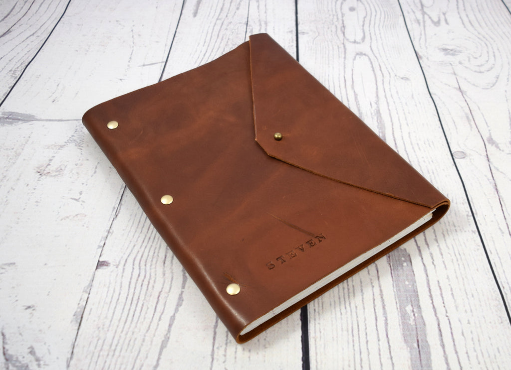 Refillable leather journal in trifold design