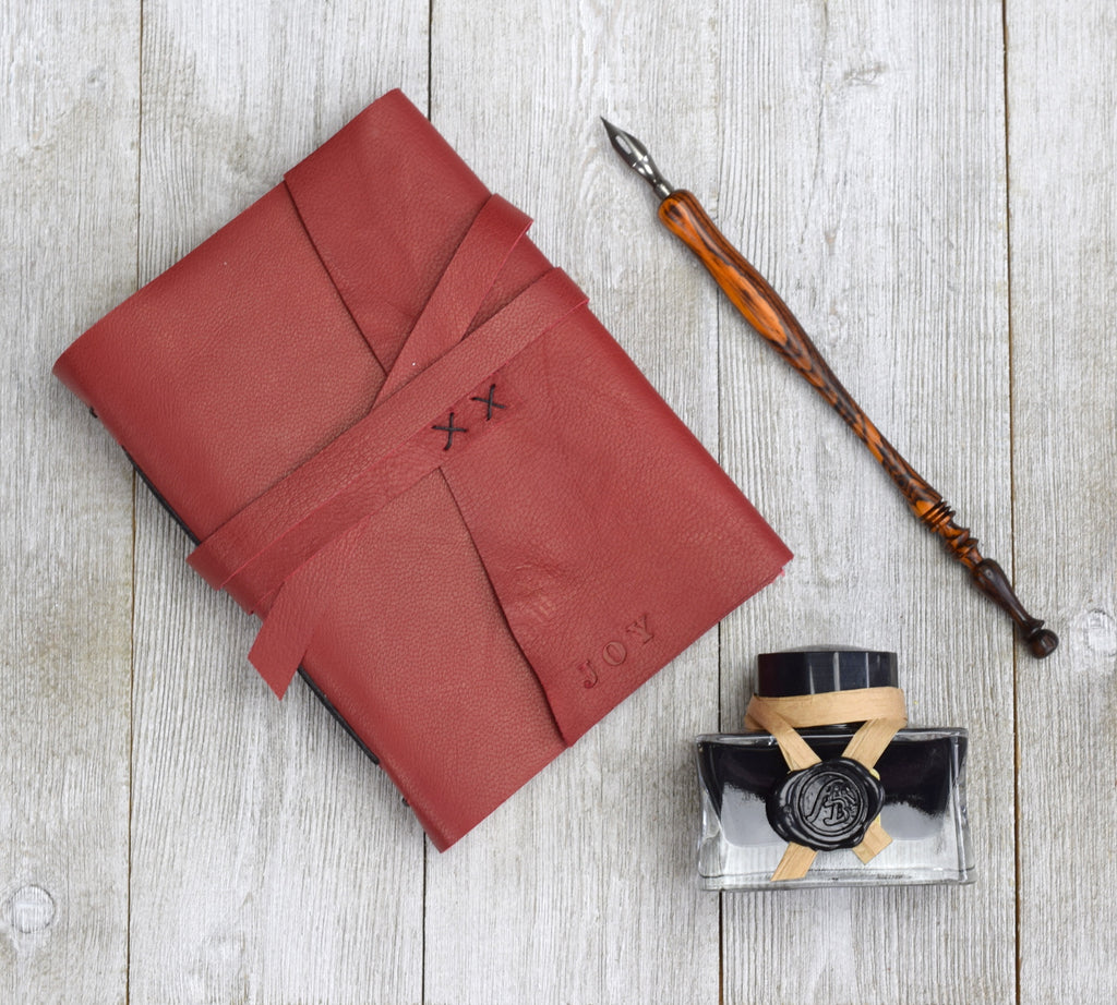 Gift set with journal, ink, and dip pen
