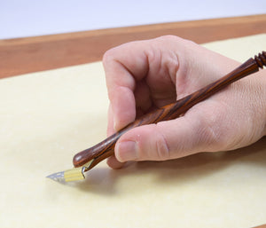 Oblique Calligraphy Pen, Hand Turned Wood Dip Pen (One Pen)