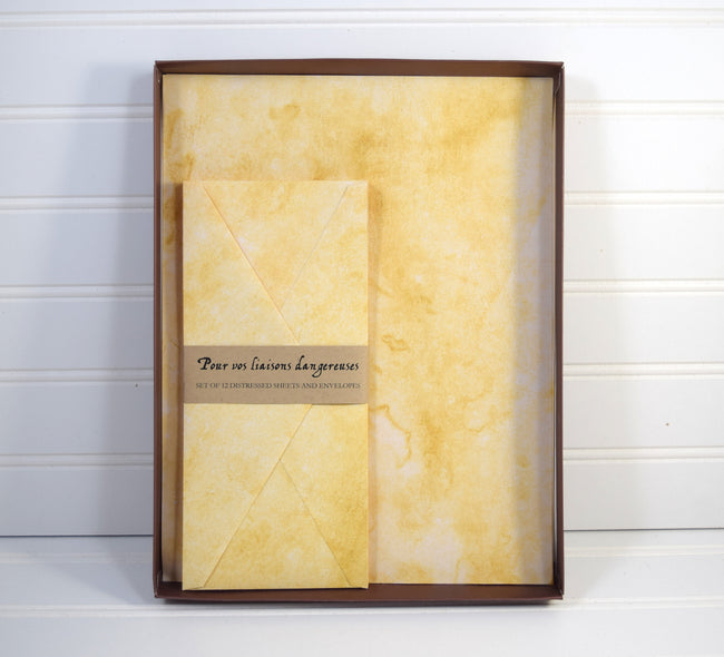 Distressed Paper Stationery Set with Envelopes