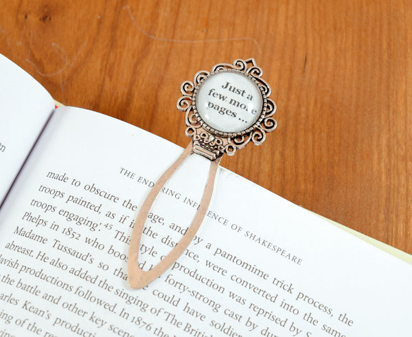 silver just a few more pages clip bookmark