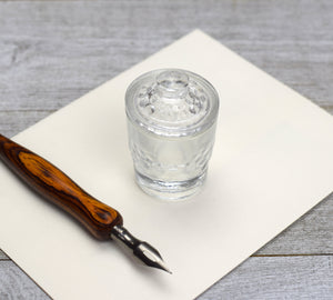 clear glass inkwell
