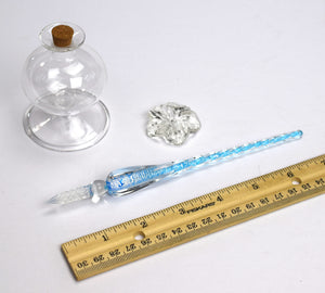 Murano Glass Dip Pen with Inkwell and Pen Rest (One Pen in Choice of Styles)