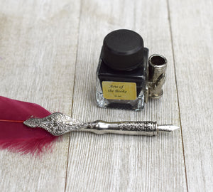 Feather Quill Pen with Inkwell and Stand