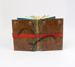 Walnut Wood Journal in Coptic Style with Caterpillars