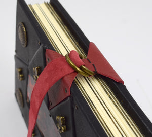 Dramatic Black and Red Leather Grimoire with Lay-Flat Binding