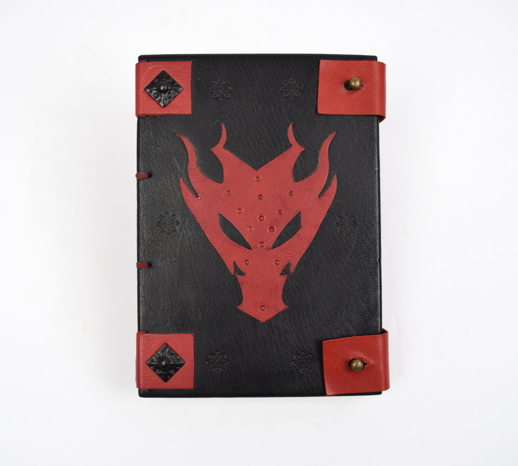 Dragon Black and Red Leather Journal with Coptic Binding