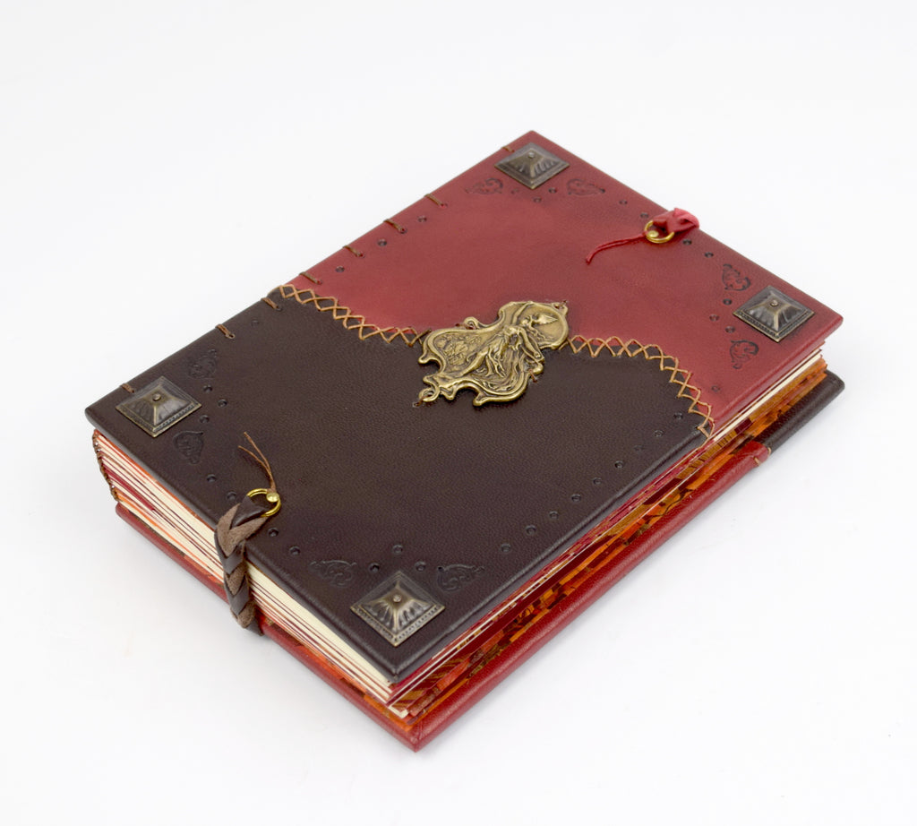 Brown and Red Leather Journal with Roman Goddess
