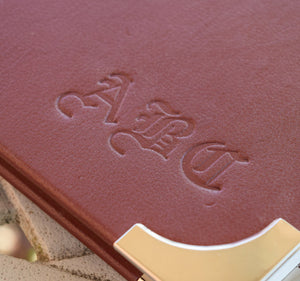 personalized tooled initials sketchbook detail