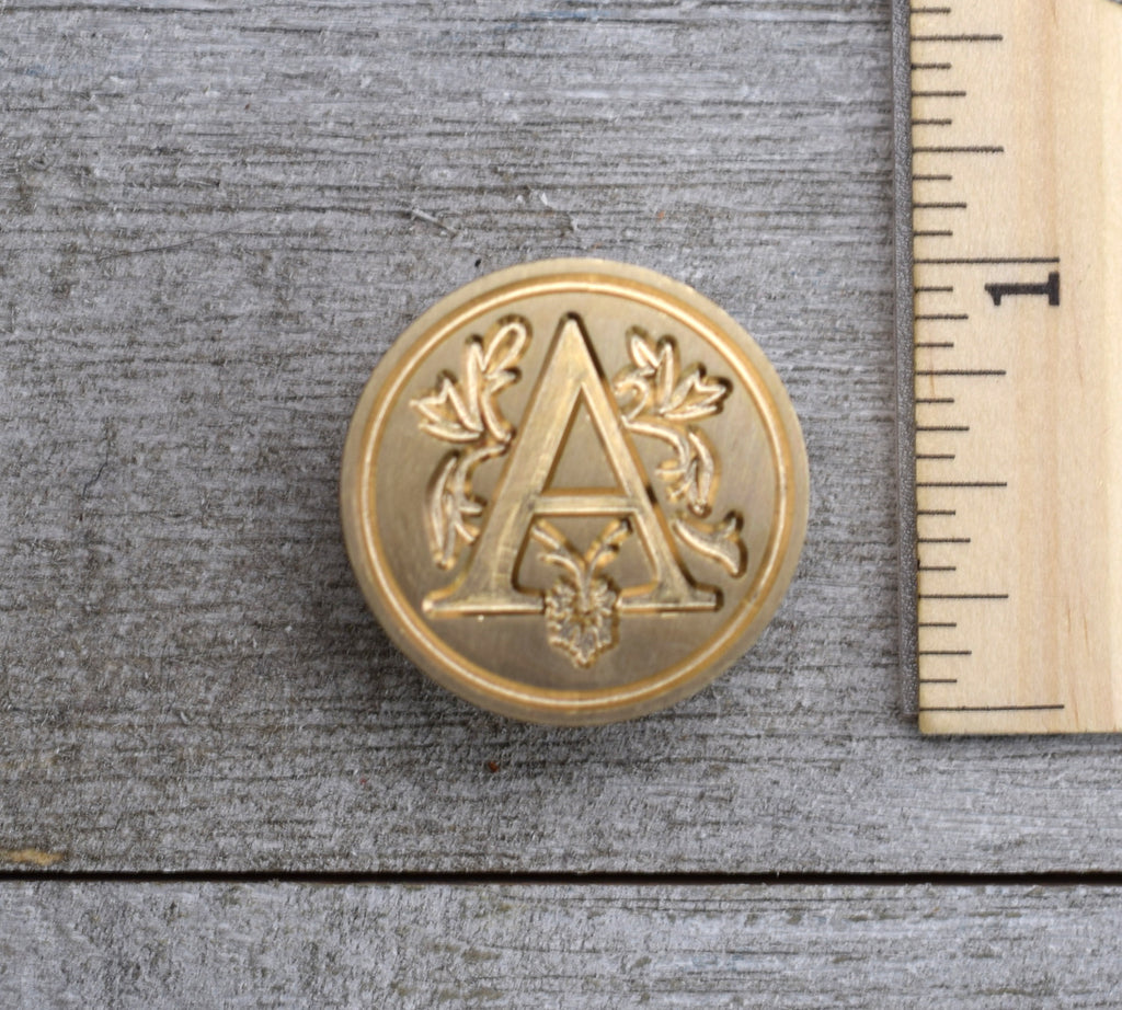 closeup of letter A wax seal stamp