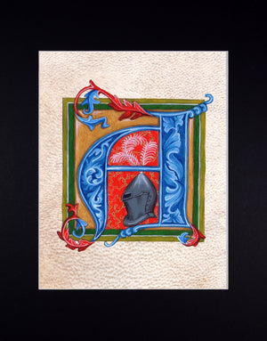 medieval illuminated letter art print