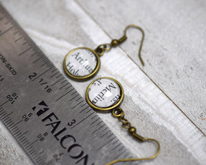 King Arthur and Merlin Earrings, Famous Pairs Literary Jewelry