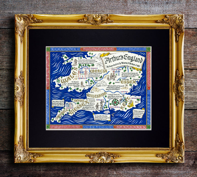map of king arthur's england art print