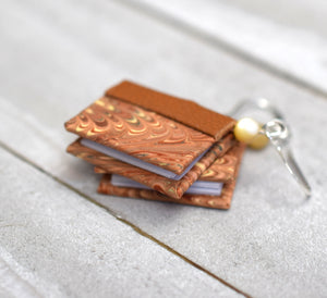 Miniature Book Earrings in Shades of Tan, Red, and Brown