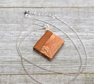 Beige Miniature Book Necklace