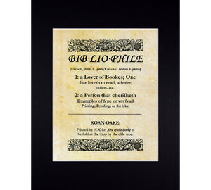 bibliophile dictionary art print in mat