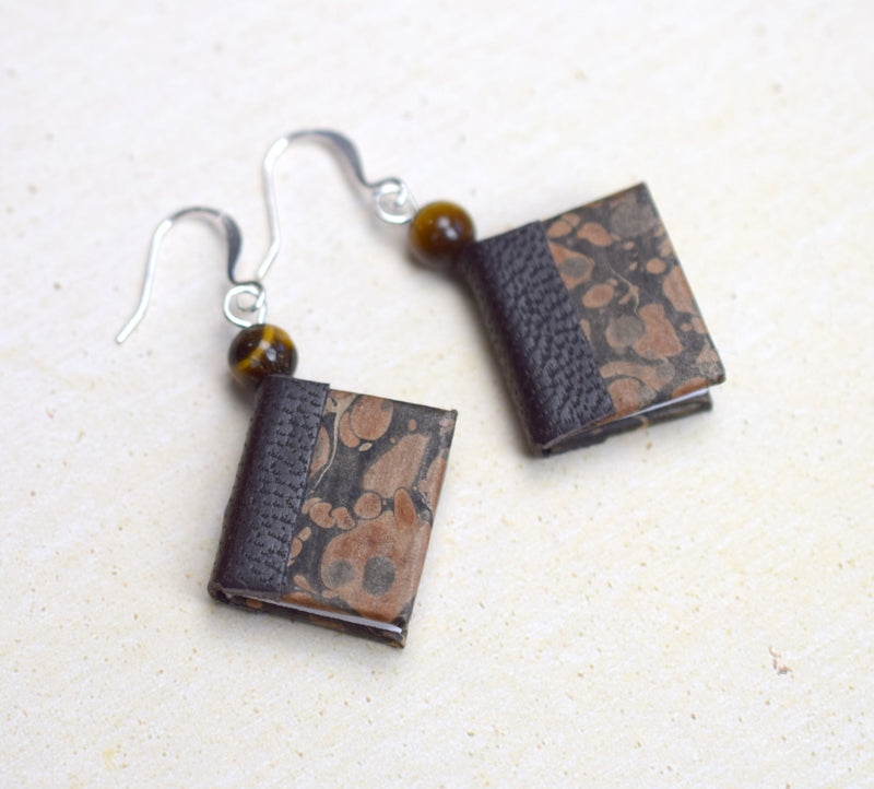 Classic Black Miniature Book Earrings