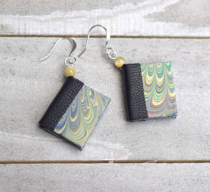 Dark Blue Miniature Book Earrings, Mini Book Jewelry