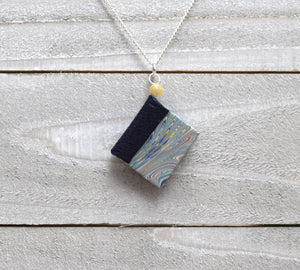 Navy Blue Miniature Book Necklace