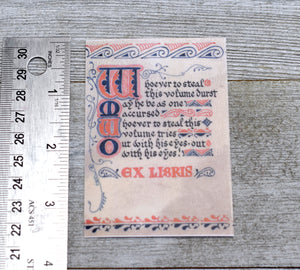 Ex Libris Book Plates: Medieval Library Book Curses, Set of 24 Self-Adhesive Labels