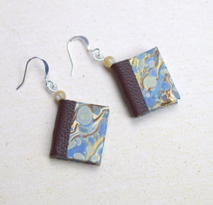 Classic Miniature Book Earrings in Blue and Brown