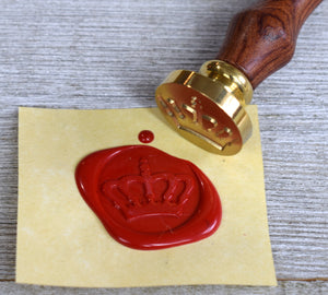 crown wax seal stamp with red wax