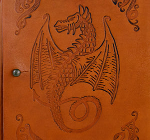 Closeup of stamped dragon on leather