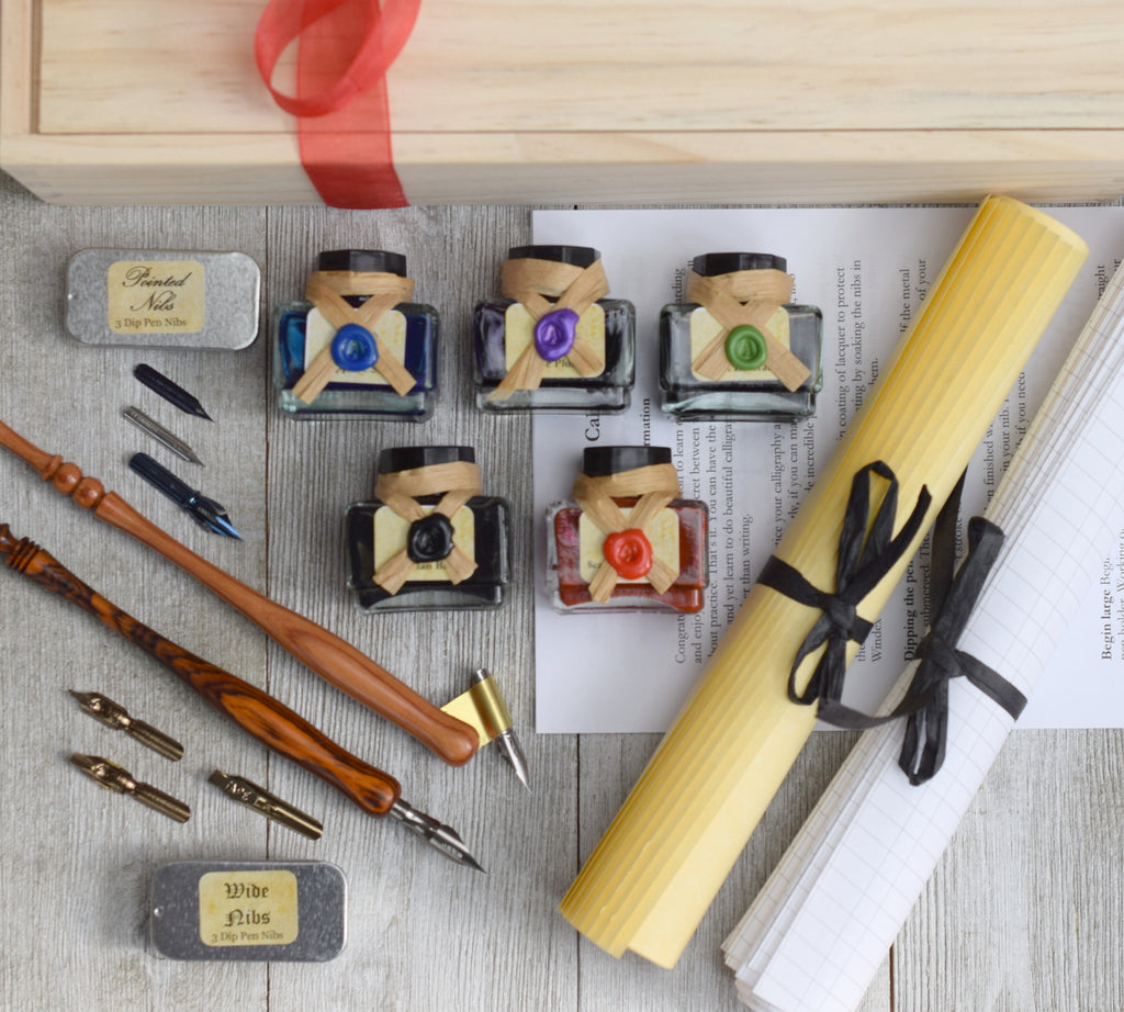 deluxe calligraphy set in wood gift box