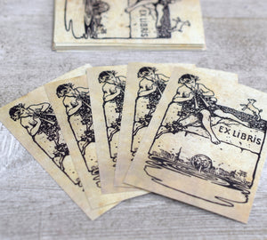 Ex Libris Book Plates with Boy and Flute: Set of 24 Self-Adhesive Labels