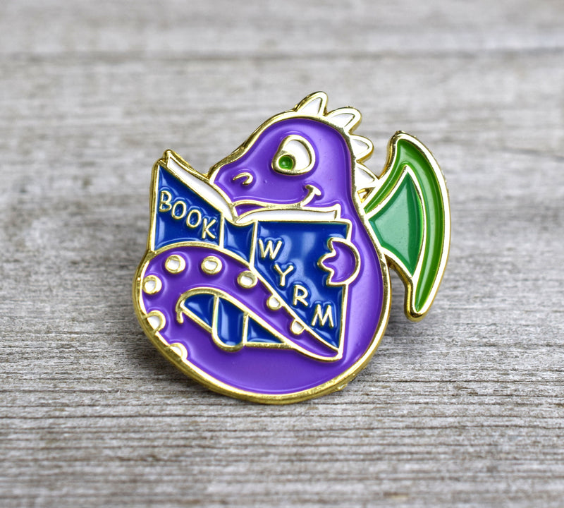 Book Wyrm Enamel Pin