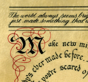 calligraphy detail Neil Gaiman quote