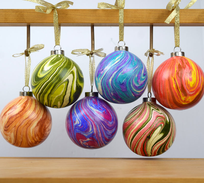 Hand Marbled Christmas Tree Ornament