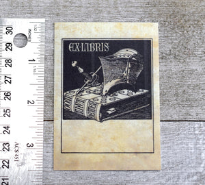 Ex Libris Book Plates with Medieval Helm and Sword: Set of 24 Self-Adhesive Labels
