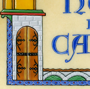 art print detail calligraphy castle door