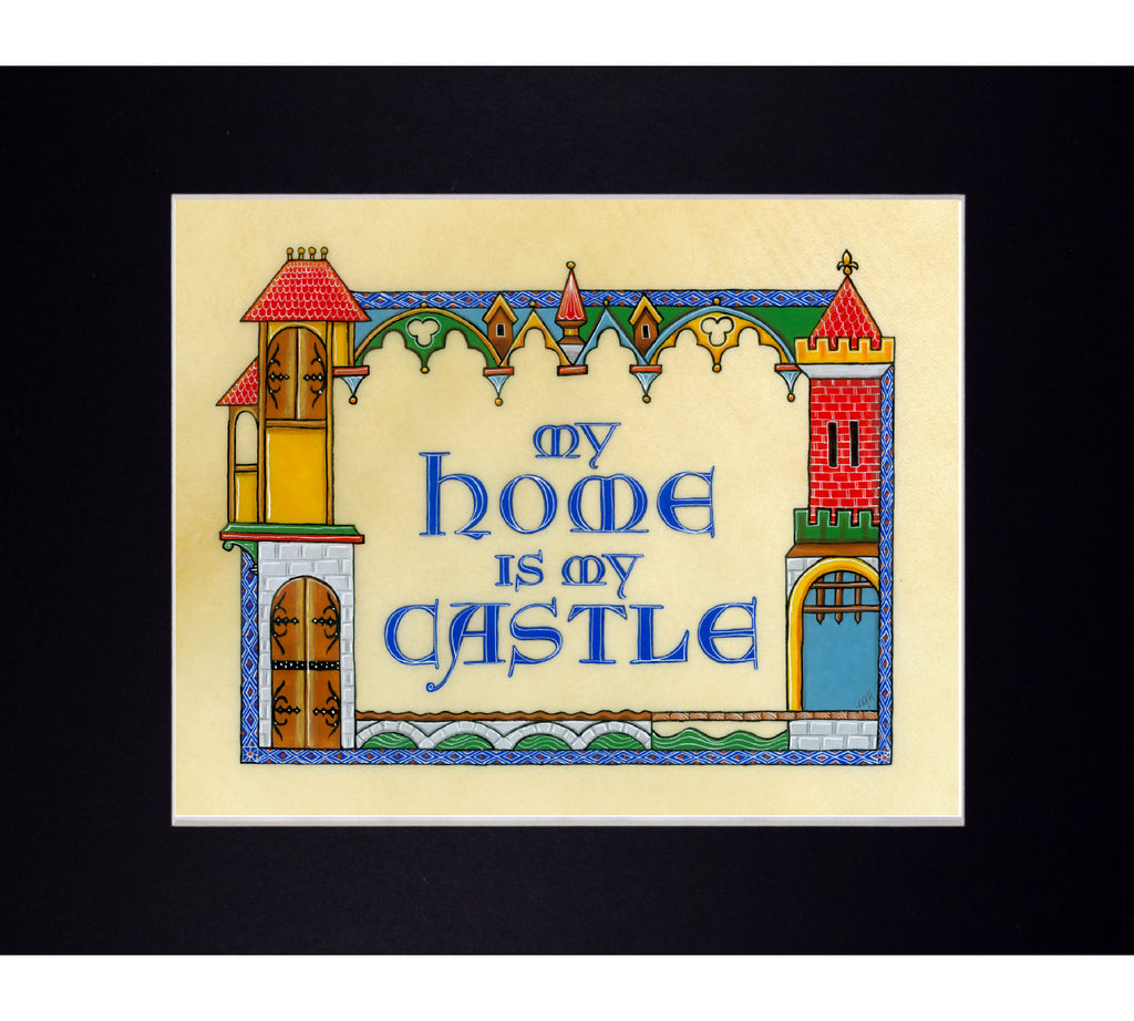 medieval castle art print in mat