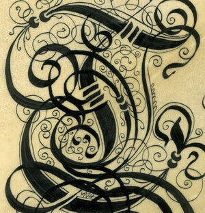 calligraphy detail illuminated initial line work